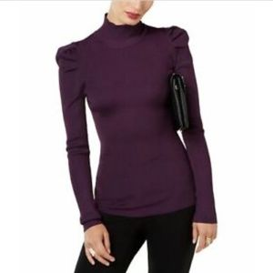 International Concepts Ribbed Puffed-Shoulder Top